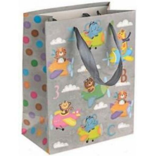 "Medium Birthday Gift Present Bag Pk 10 Bags Planes 7"" x 9"""