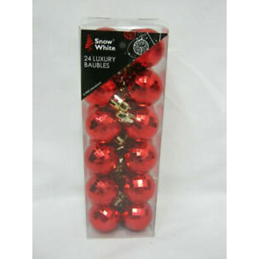 Snow White Baubles 25mm Small Pk 24 Disco Ball 513400 Red