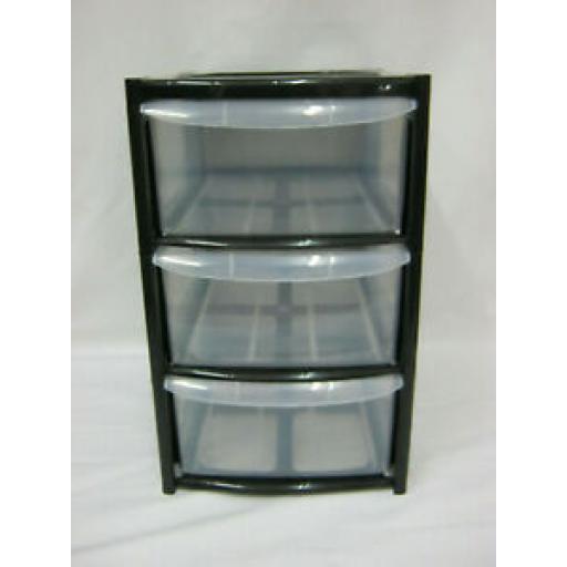 TML Black 3 Three Drawer Mini Tower Plastic Storage TML1300