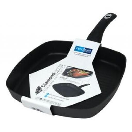 Pendeford Diamond Square Ribbed Non Stick Grill Frying Pan 28cm P645