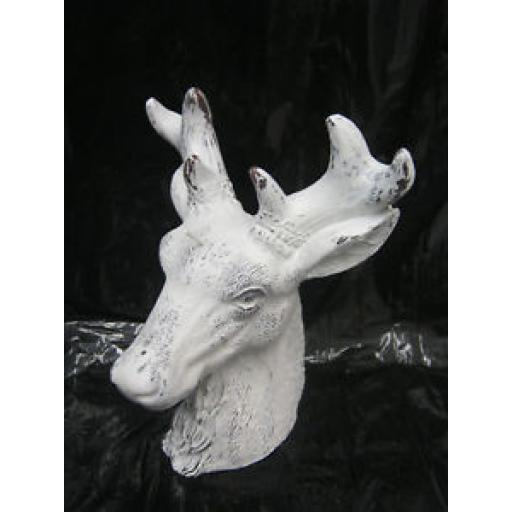 Christmas Decoration Candle Large Stags Head Glitter White 18cm ZNE15