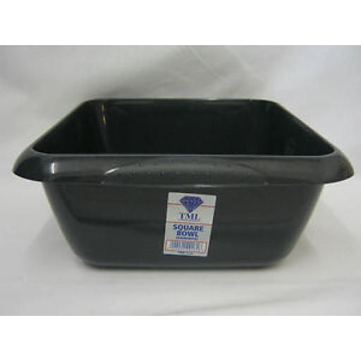 "TML Square Plastic Washing Up Bowl 7 Ltr 29cm 11 1/2"" Graphite Grey"