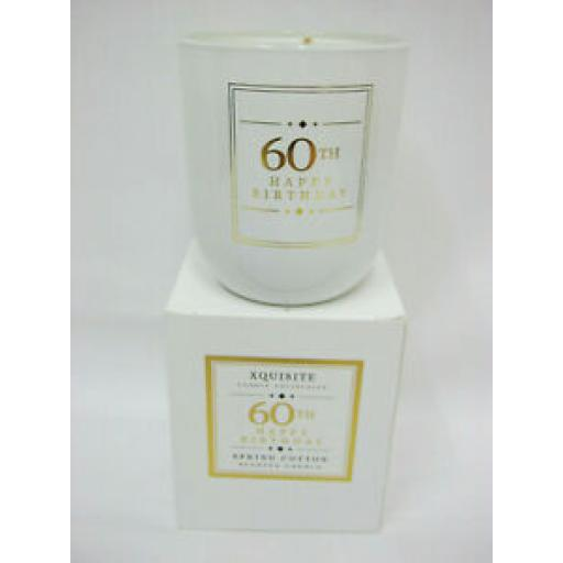Xquisite Spring Cotton Scented Candle Glass Jar 60 th Happy Birthday DC006