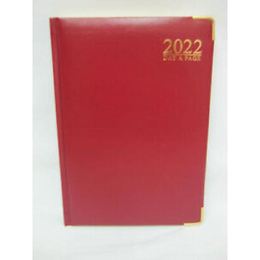 Tallon Day A Page Diary A5 2022 Padded Back Gilded Edge Red