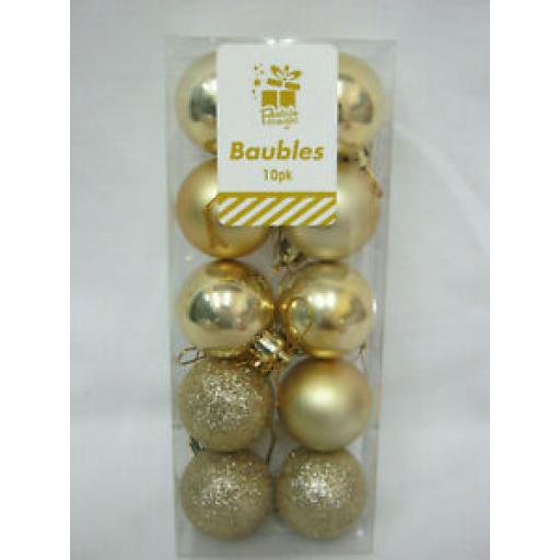 Festive Magic Christmas Tree Baubles Pk 10 Gold 35mm XA0419