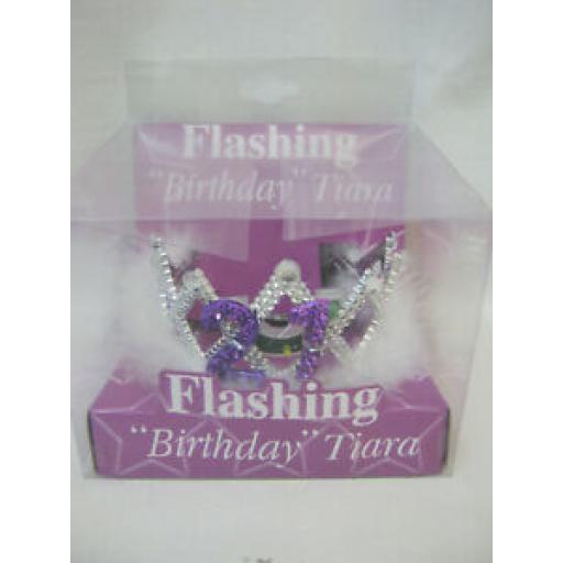 Alandra Flashing Birthday Tiara No 21 Birthday's FBT21 One Size Fur Trim