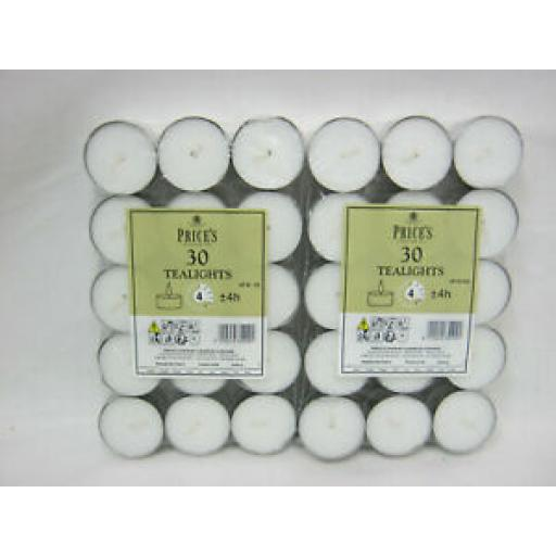 Price's Wax Prices Tealights 4 Hour Burn Time Pack Pk 30 x 2