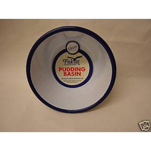Falcon White Enamel Pudding Basin Bowl With Blue Trim 12cm