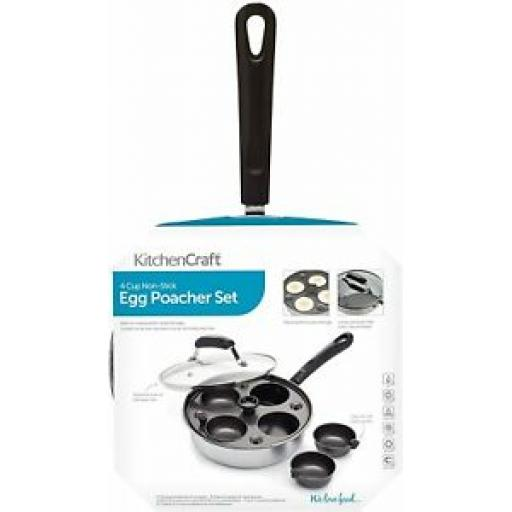 Kitchecraft 4 Four Hole Egg Stainless Steel Poacher Non Stick Pan Glass Lid