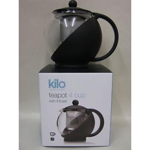 Kilo Glass Teapot With Mesh Infuser 4 Cup Black Body Tea Pot D07
