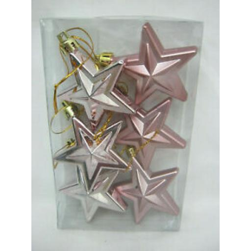 Hanging Stars Baubles 60mm Pk 6 Pink WHT26