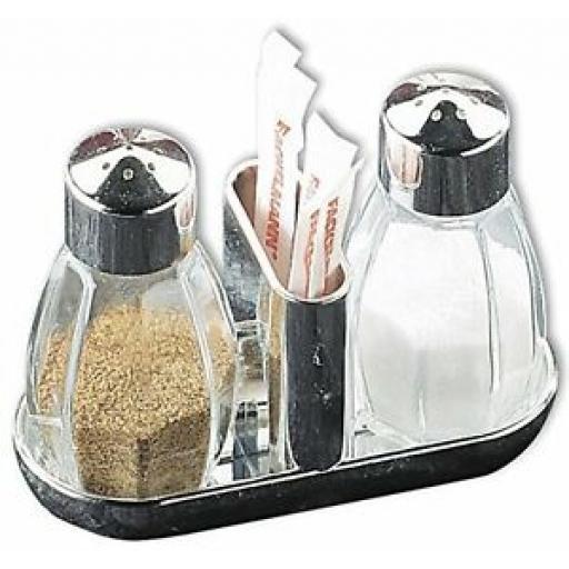 Fackelmann Salt And Pepper Shaker Cruet Set Glass Toothpicks 473187