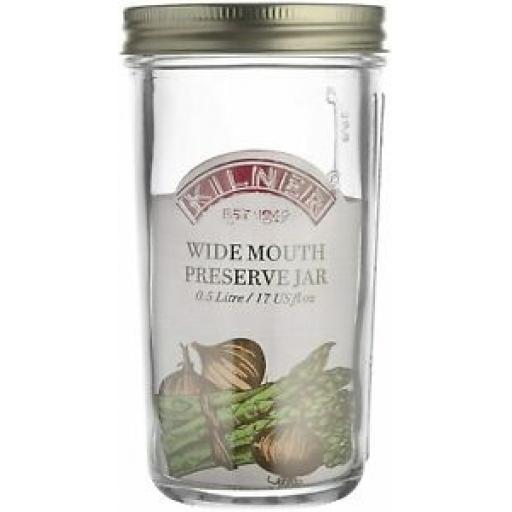 Kilner Glass Wide Mouth Preserve Screw Top Jar 0.5L 0025.888