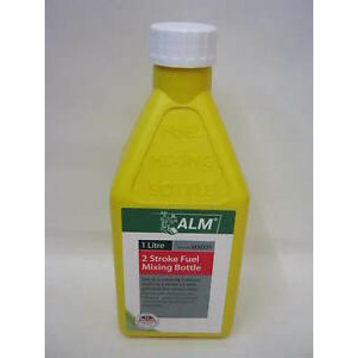 Alm 2 Stroke Fuel Petrol Mixing Bottle Plastic 1 Ltr MX001 Yellow