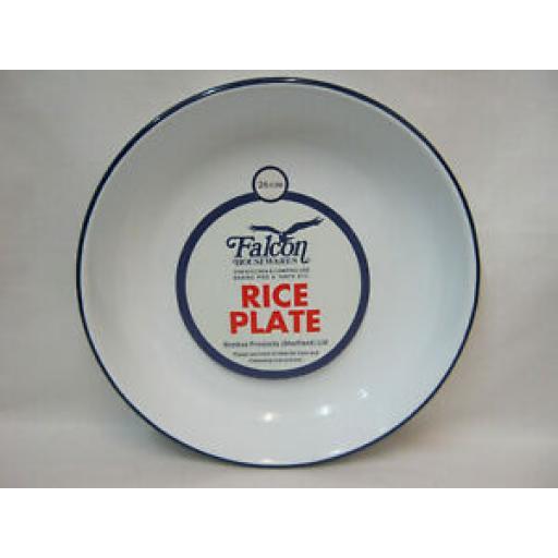 Falcon White Enamel Round Pie Rice Plate Baking Dish Tin 26cm