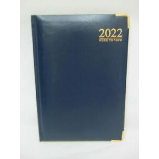 Tallon Week To View Diary A5 2022 Padded Back Blue