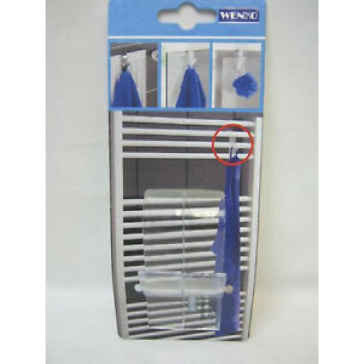 Wenko Clear Plastic Over The Door Hook Hanger Hooks For Towel Radiator Pk 2