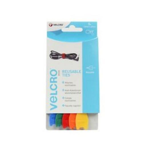 Velcro Adjustable Ties 12mm x 20cm 60250 5 Ties Col