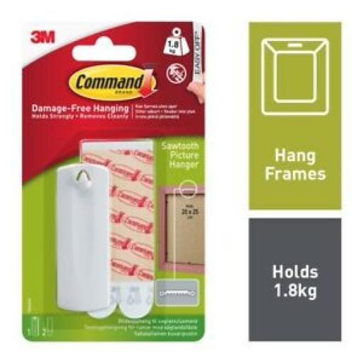 3M Command Sawtooth Picture Frame Hanger 1.8kg 7100109314