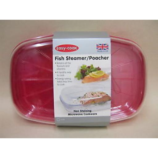 Easy Cook Microwave Fish Steamer 27cm x 18cm NS626 Red Non Staining