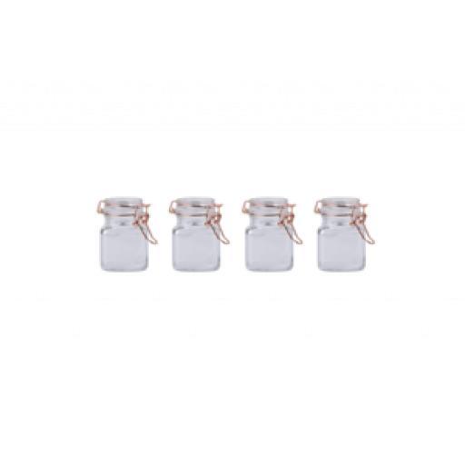Sabichi Set Of 4 Piece Four Glass Spice Jar Set With Copper Clips 197498