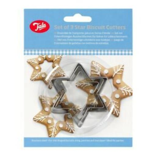 Tala Star Biscuit Pastry Cutters Stainless Steel set 3 10A 09519