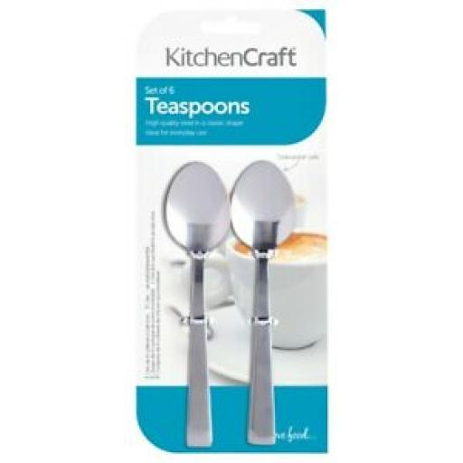 Kitchencraft Tea Spoons Stainless Steel Pk 6 KCTSPOONSET