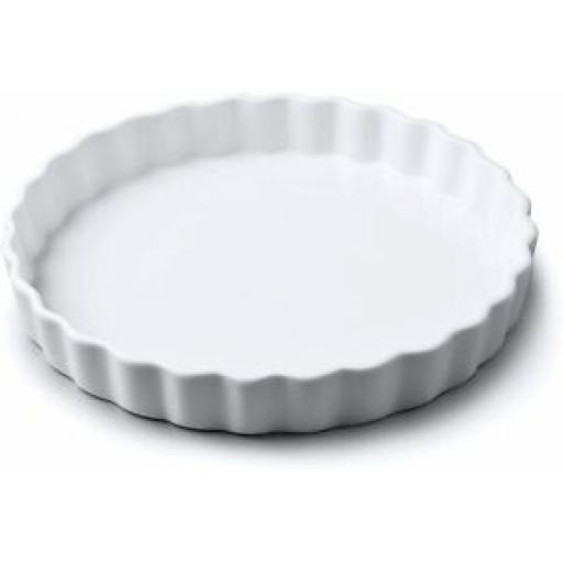 Wm Bartleet Fluted Crinkle Edge Flan Dish White Porcelain Large T450 27cm