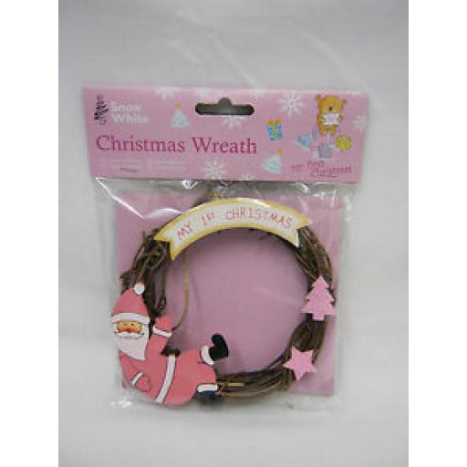 PMS Snow White Baby Christmas Wreath My 1st Christmas Pink 514023