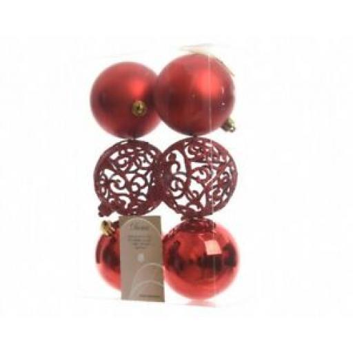 Decoris Kaemingk Baubles Pk6 Multi Finish Glitter Lattice 80mm Christmas Red