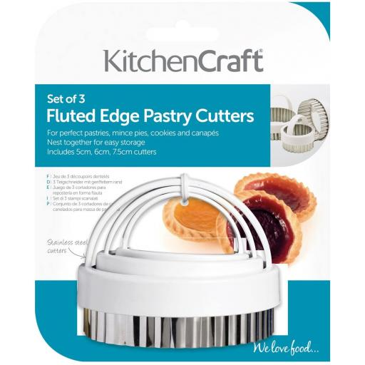 Kitchencraft Fluted Stainless Steel Pastry Cutters Set 3 KCPASTRY3