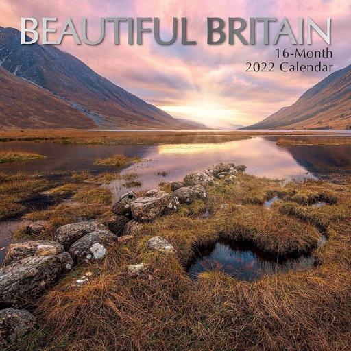 Square Glossy 16 Month Wall Calendar Beautiful Britain 2022