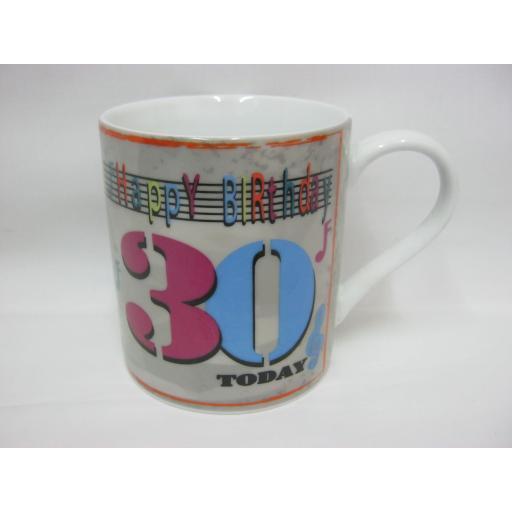 Hipster Mug Beaker Coffee Tea Cup Happy Birthday 30th Music Notes MUG0055