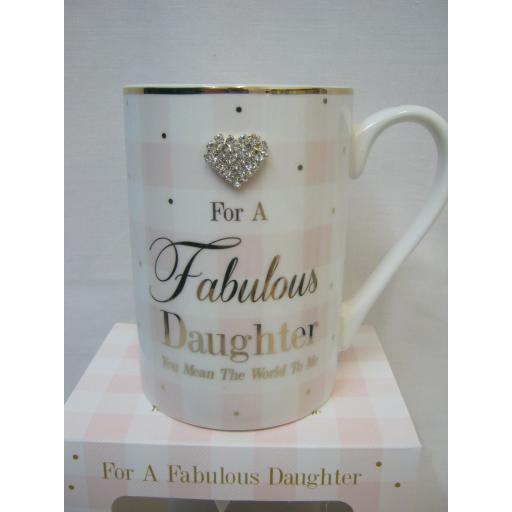 Lesser And Pavey Mug Beaker Coffee Tea Diamonte LP33864 For A Fabulous Daughter