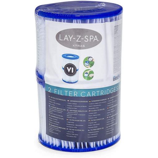 2 X Bestway Lay-Z-Spa Hot Tub Filter Cartridge VI for All Lay-Z-Spa Models PK 2